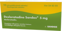 DESLORATADINE SANDOZ 5 mg tabl, kalvopääll 10 fol